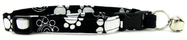 Black and White Swirl Paws Cat Collar