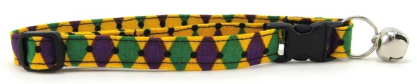 Green, Purple and Gold Harlequin Cat Collar