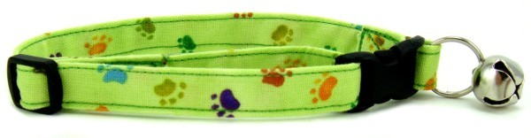 Green Rainbow Paws Cat Collar