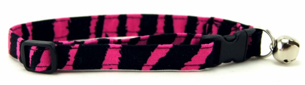 Hot Pink Zebra Stripes Cat Collar
