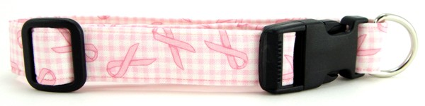 Pink Ribbon Gingham Dog and Cat Collars and Leashes