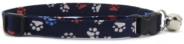 Red White and Blue Paws Cat Collar